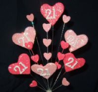 Hearts 21st birthday cake topper decoration in shades of pink - free postage